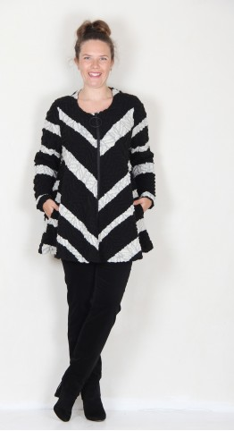 Ralston Tavia Textured Knit Jacket Black White