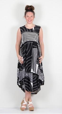 Ralston Utan Dress Black/White Patch Stripe