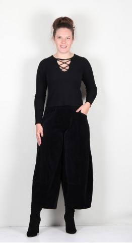 Ralston Omar Velvet  Cropped Trouser Black