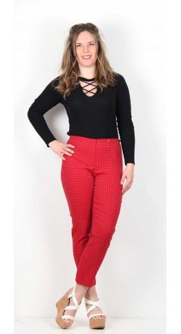 Robell Trousers Bella Polka Mini Spot Trouser Red