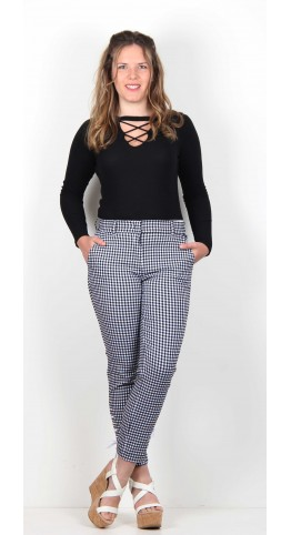 Robell Trousers Ginger Blacl/White Check