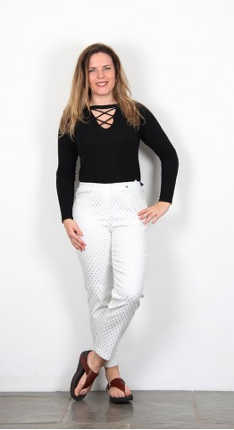 Robell Trousers Bella 09 Crop White/Silver