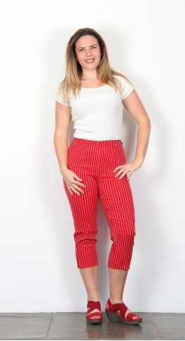Robell Trousers Marie 07  Capri Red Pinstripe