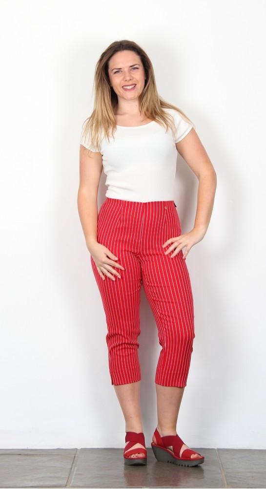 Robell Trousers Marie 07  Capri Red Pinstripe