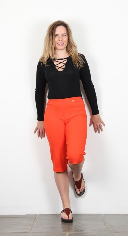 Robell Trousers Bella 05 Shorts Orange