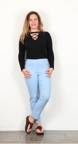 Robell Trousers Bella 09 Cuff 7/8 Crop Pale Blue