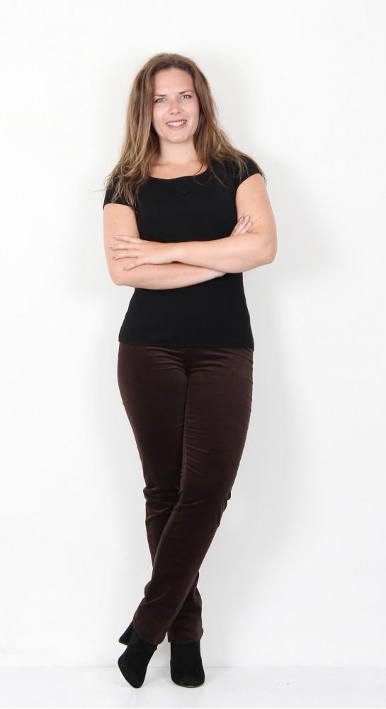 Robell Trousers Marie Full Length Velvet Chocolate