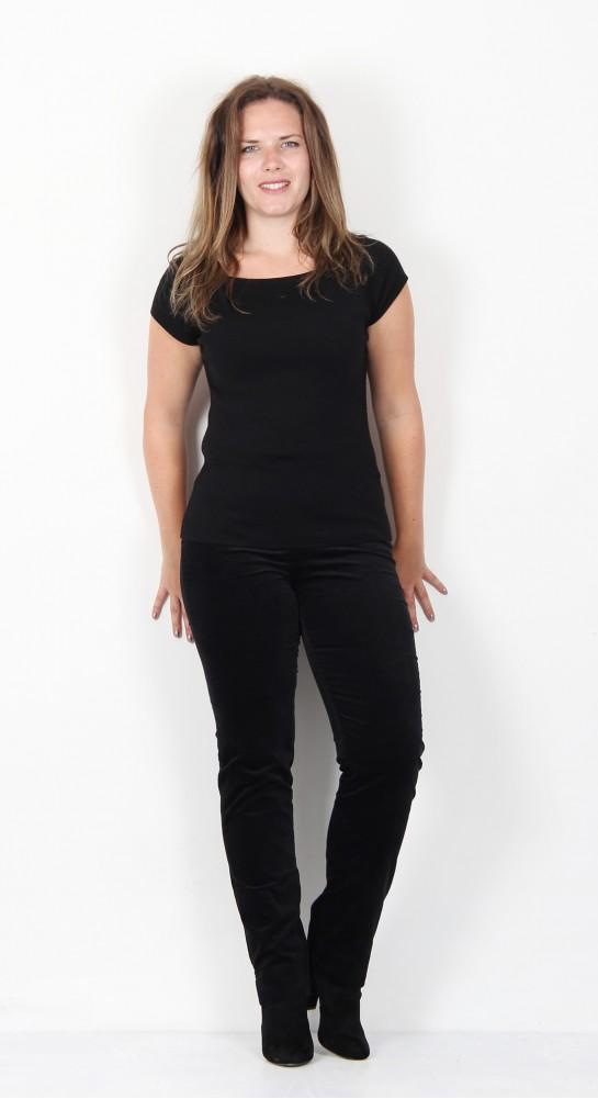 Robell Trousers Marie Full Length Velvet Black