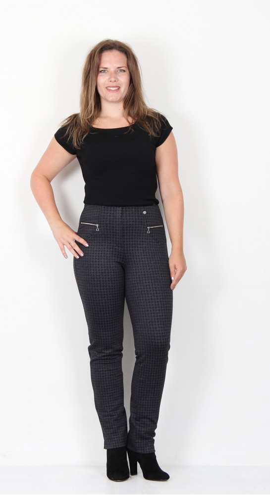 Robell Trousers Mimi Dog Tooth Check Charcoal