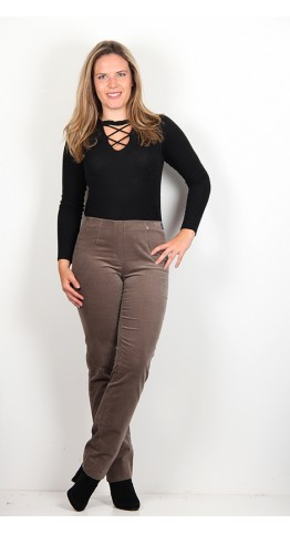 Robell Trousers Marie Full Length Velvet Taupe