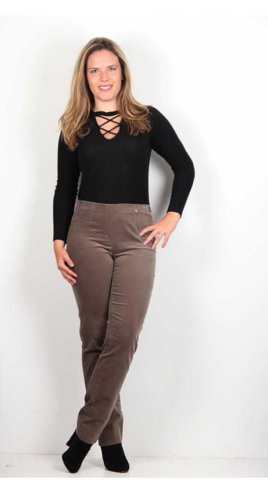 Robell Trousers Marie Full Length Velvet Taupe