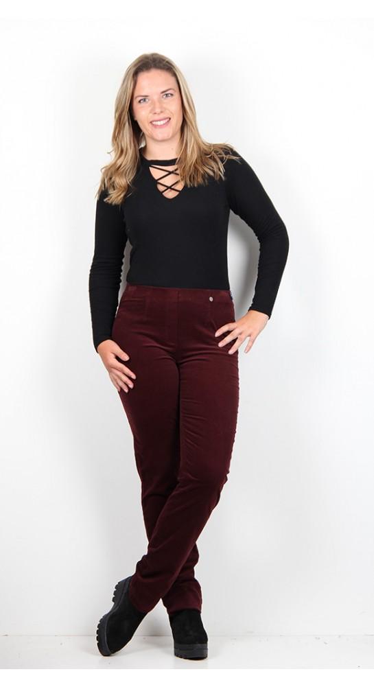 Robell Trousers Marie Full Length Velvet Claret