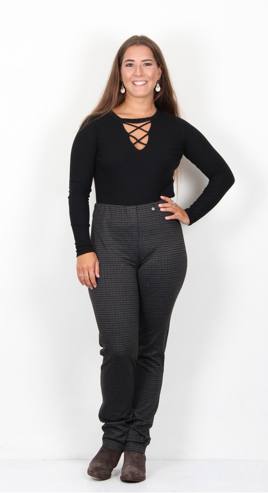 Robell Trousers Bella Dog Tooth Check Grey