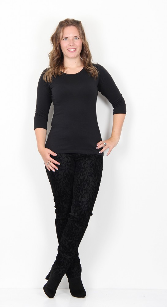 Robell Trousers Bella Devore Velvet Black