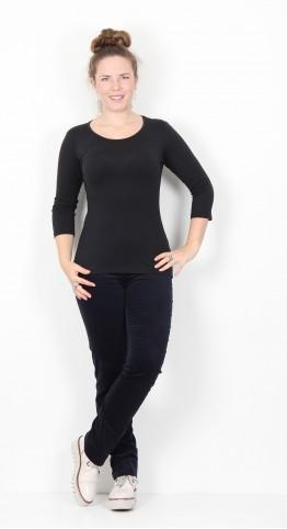 Robell Trousers Marie Full Length Velvet Navy