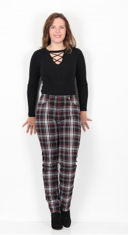 Robell Trousers Bella Check Black Red