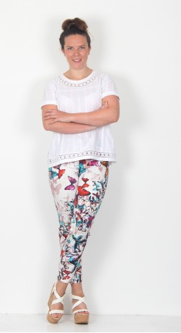 Robell Trousers Rose 09 Abstract Print Trousers Butterfly