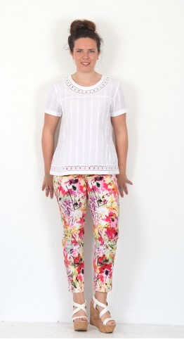Robell Trousers Bella 09 Bright Floral Print Trousers
