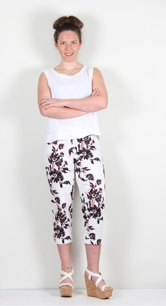 Robell Trousers Marie 07 Abstract Lilly White