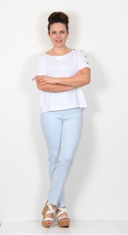 Robell Trousers Mimi Dog Tooth Check Light Blue