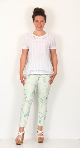 Robell Trousers Rose 09 Abstract Floral Trousers Leaf