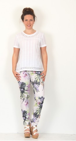 Robell Trousers Elena Tropical Floral Jean Green