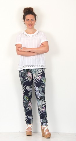 Robell Trousers Elena Tropical Floral Jean  Navy