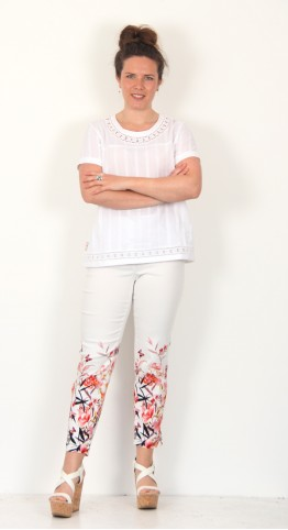 Robell Trousers Bella 09 Botanical Butterfly White