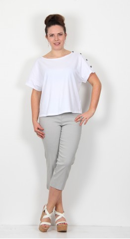 Robell Trousers Marie 07 Capri Light Grey