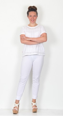 Robell Trousers Bella 09 Seersucker White