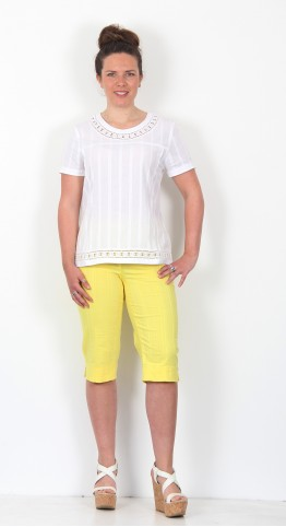 Robell Trousers Bella 05 Shorts Seersucker Yellow