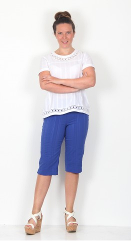 Robell Trousers Bella 05 Shorts Seersucker Royal Blue