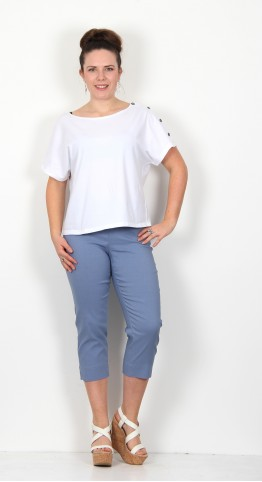 Robell Trousers Marie 07 Capri Denim