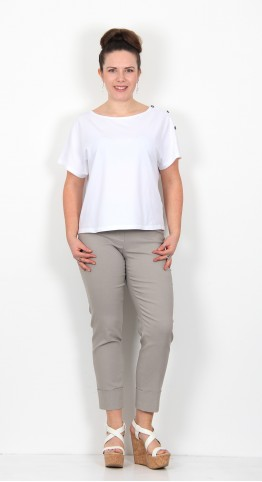 Robell Trousers Bella 09 Cuff 7/8 Crop Taupe