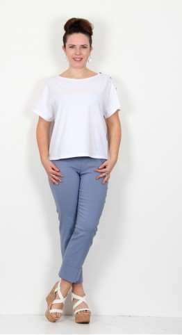 Robell Trousers Bella 09 Cuff 7/8 Crop Denim Blue