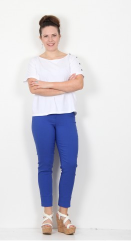 Robell Trousers Bella 09 Cuff 7/8 Crop Royal Blue