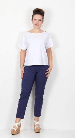 Robell Trousers Bella 09 Cuff 7/8 Crop French Blue