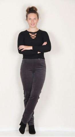 Robell Trousers Bella Fine Cord Dark Grey