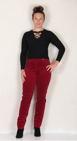 Robell Trousers Bella Fine Cord Red
