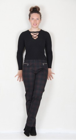 Robell Trousers Mimi Tartan Black Red