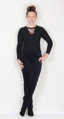 Robell Trousers Marie Full Length Velvet Dark Navy