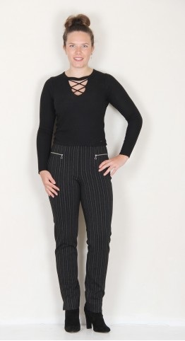 Robell Trousers Mimi Pinstripe Graphite