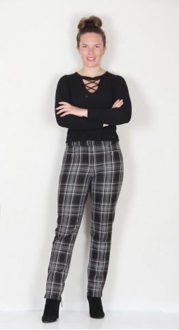 Robell Trousers Mimi Tartan Charcoal Black