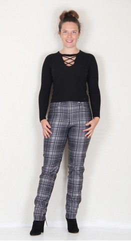 Robell Trousers Bella Grey Charcoal Tartan