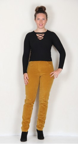 Robell Trousers Bella Fine Cord Curry