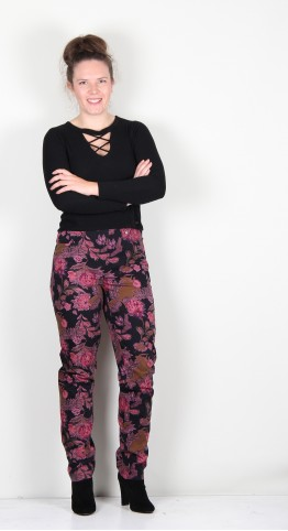 Robell Trousers Bella Floral Pink