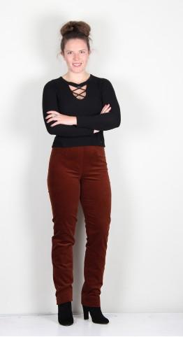 Robell Trousers Marie Full Length Velvet Russet