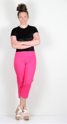 Robell Trousers Marie 07 Cotton Capri Hot Pink