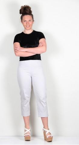 Robell Trousers Marie 07 Cotton Capri Stone Grey