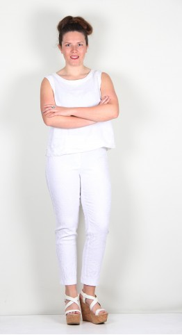 Robell Trousers Bella 09 Jacquard 7/8 Crop White